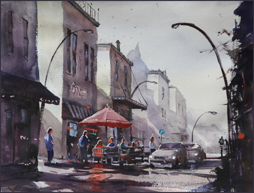 Rex Beanland, Dairy Lane, watercolour, 15 x 25