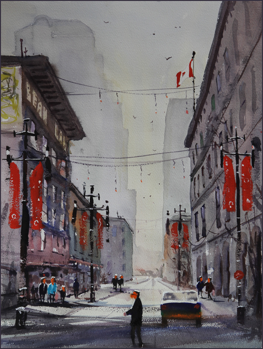 Rex Beanland, Christmas On 8th, watercolour 20 x 15