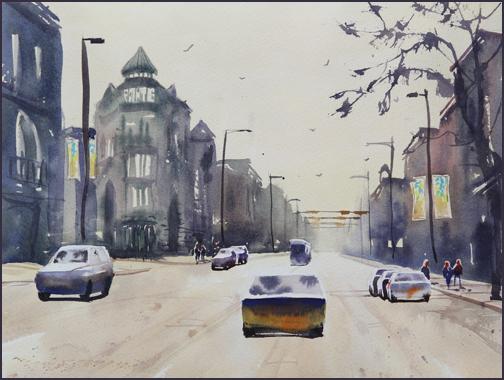 Rex Beanland, Kensington 2, watercolour, 16 x 12