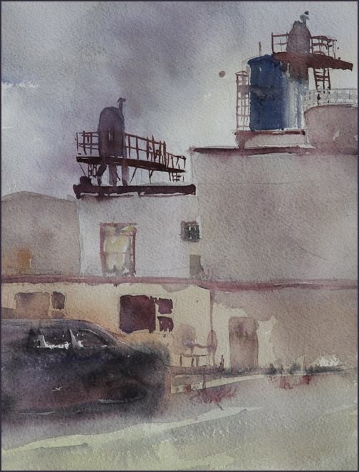 Rex Beanland, Ogden Yards, watercolour, 9 x 12