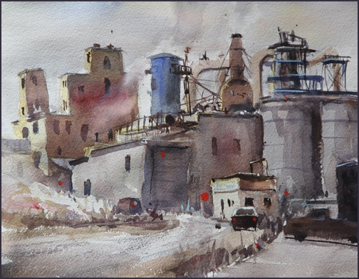 Rex Beanland, Ogden Yards 2, watercolour, 9 x 12