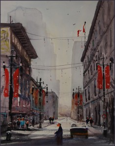 Rex Beanland, Christmas On 8th, watercolour, 20 x 15