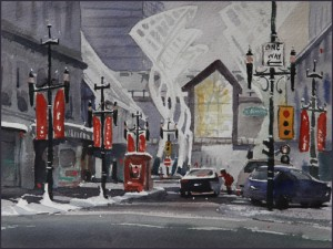 Rex Beanland, Christmas On 8th (Study), watercolour, 8 X 11