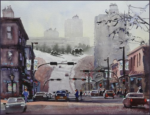 Rex Beanland, 10th St North, watercolour, 16 x 12