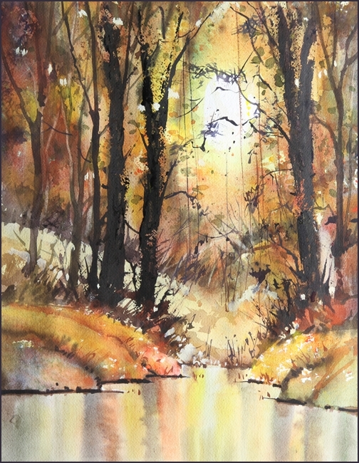 Rex Beanland, Cameron Pond, watercolour, 18 x 14