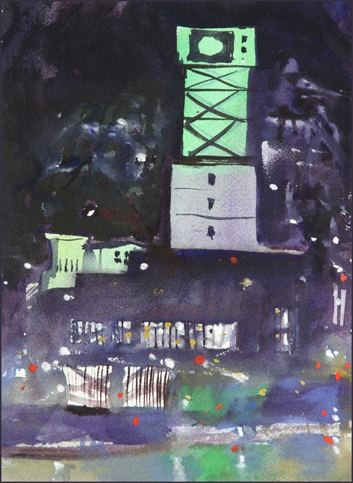 Rex Beanland, Mississauga City Hall At Night, watercolour 9 x 12