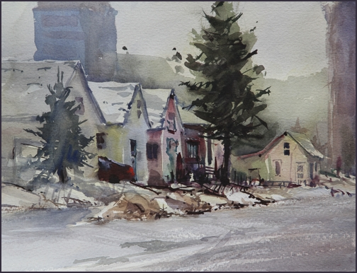 Rex Beanland, 11 Ave SE, watercolour, 12 X 9