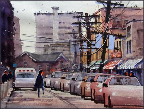 Rex Beanland, Kensington Market, Toronto, watercolour, 20 x 15