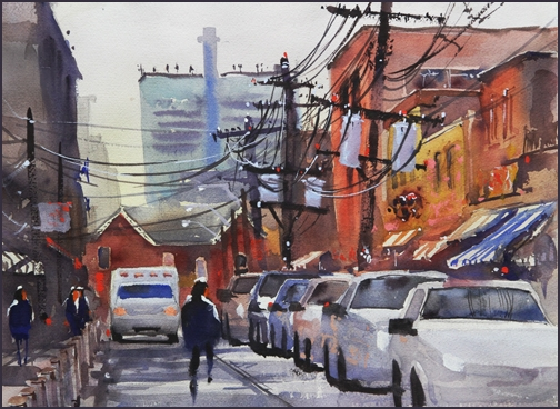 Rex Beanland, Street Of Wires, watercolour, 16x12
