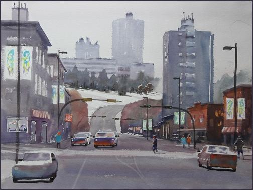 Rex Beanland, 10th Street Breakdown (Original) , watercolour, 18 x 24