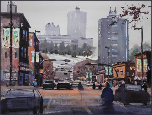 Rex Beanland, 10th Street Breakdown, watercolour, 18 x 24