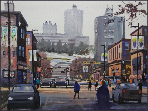 Rex Beanland, 10th Street, watercolour, 18 x 24