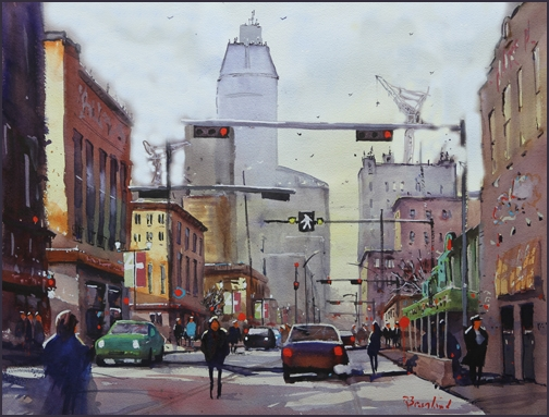 Rex Beanland, 4th Street, A Calgary Moment, watercolour, 18 X 24