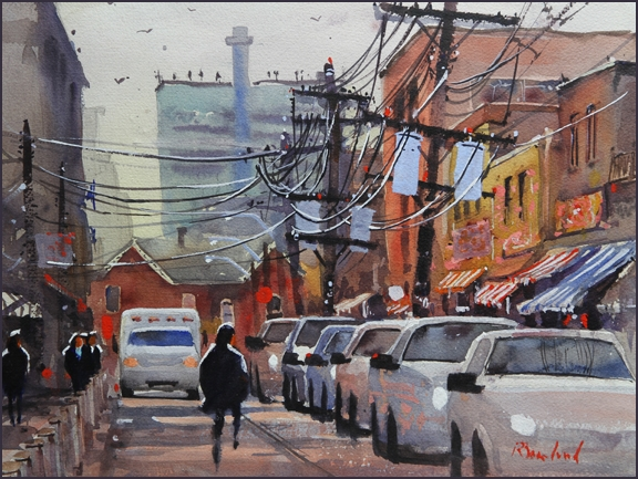 Rex Beanland, Kensington Market, Street Of Wires, watercolour, 16x12