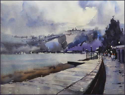 Rex Beanland, Seaton Beach, watercolour, 12 x 16,