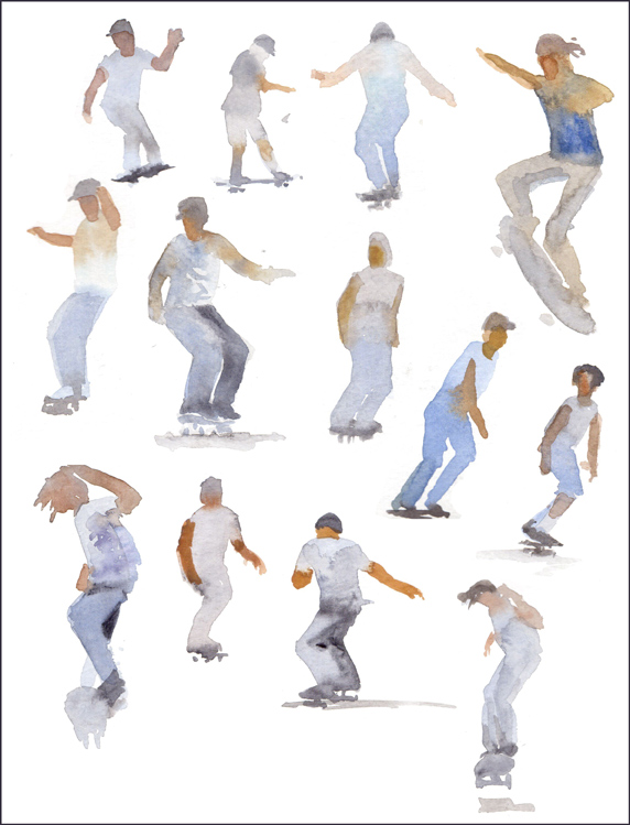 Rex Beanland, Skateboarders, watercolour