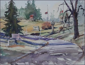 Rex Beanland, Union Cemetery, watercolour, 9 x 12