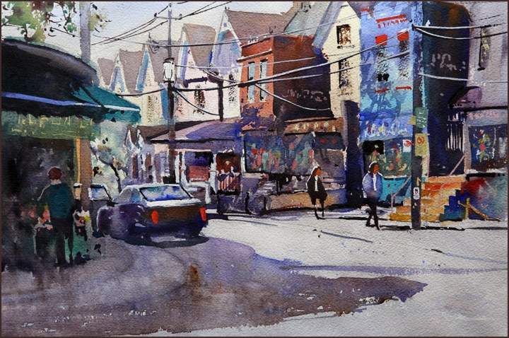 Rex Beanland, Colourful Street, Kensington, Toronto, watercolour, 12 x 16