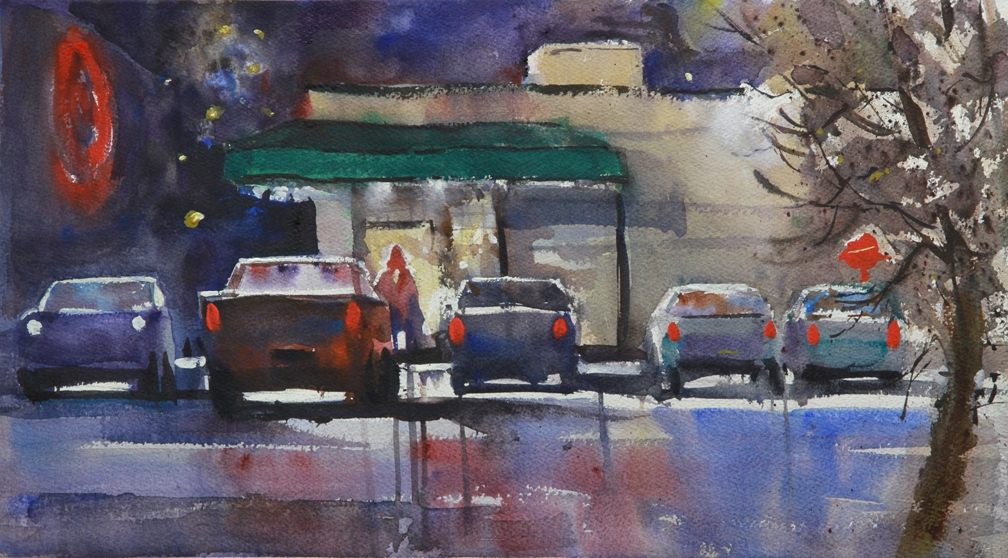 "Rex Beanland, Late Night At The Liquor Store, watercolour, 20"" x 11"""