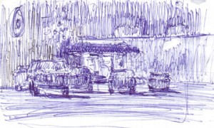 Rex Beanland, Late Night At The Liquor Store (thumbnail sketch)