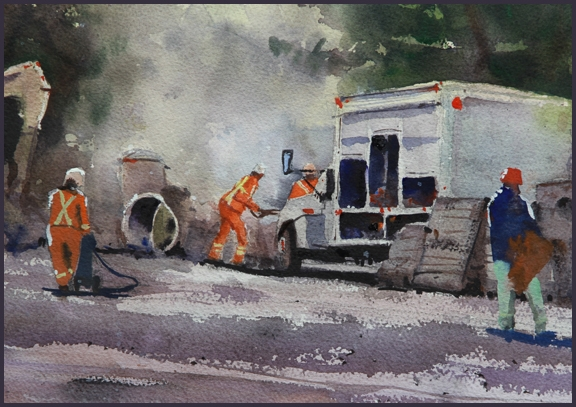Rex Beanland, Construction Season, watercolour, 9 x 12