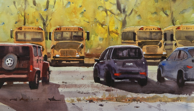 Rex Beanland, Back To School 2 watercolour, 11 x 20