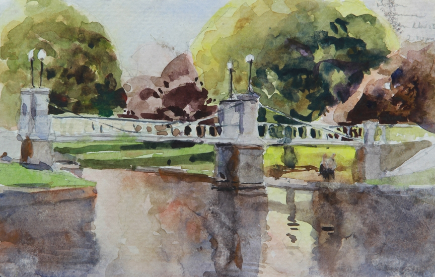 Rex Beanland, Boston Public Garden, watercolour, 6 x 8