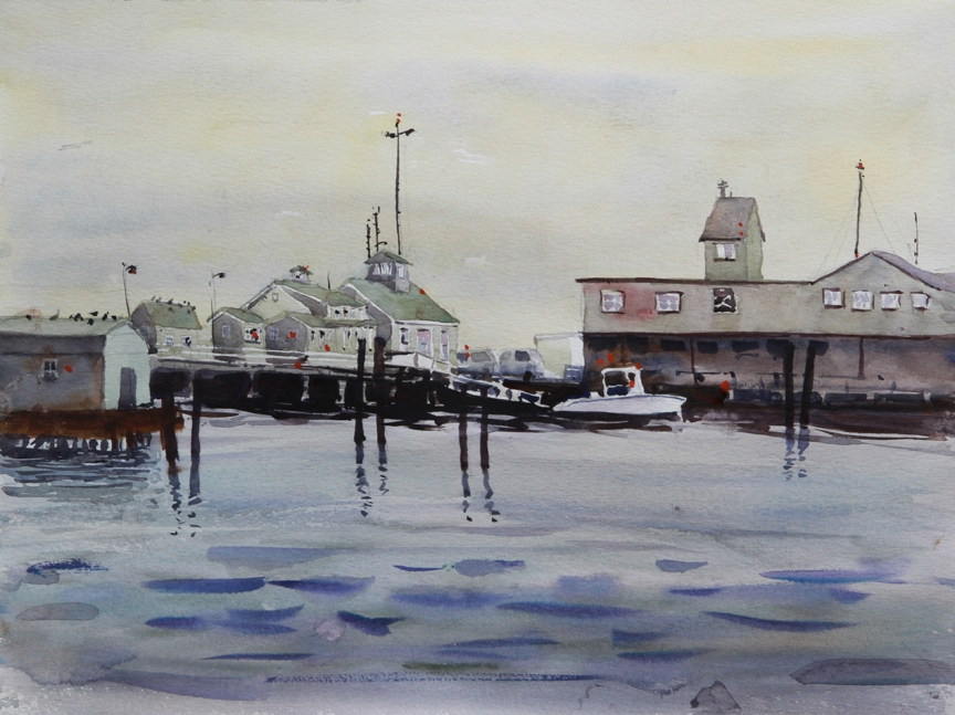 Rex Beanland, Provincetown Harbour, watercolour, 12 x 16