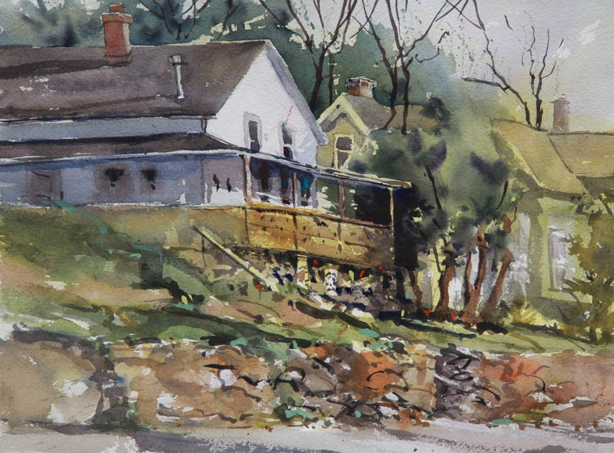 Rex Beanland, House on A Hill, watercolour, 9 x 12