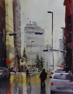 Rex Beanland, Downtown, Winter Sun, watercolour, 9 x 12