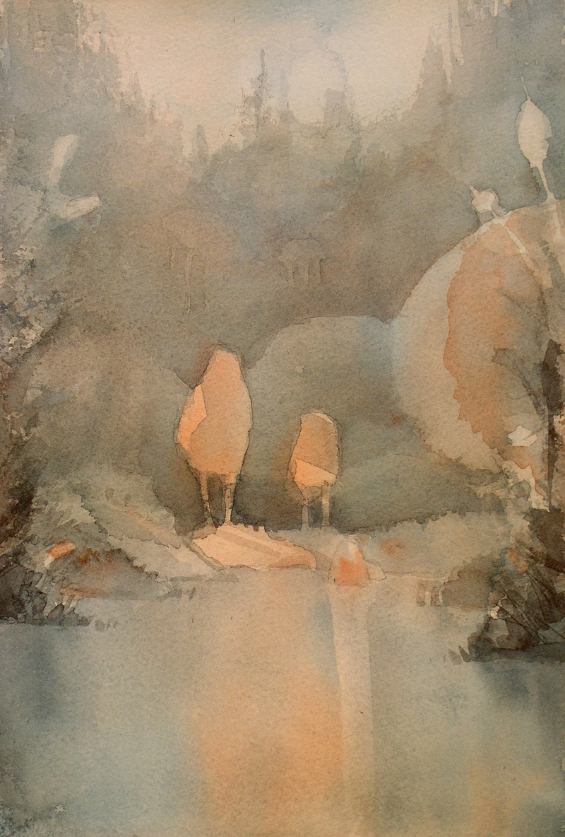 Rex Beanland, Early Morning At The Beaver Pond, watercolour, 11 x 7
