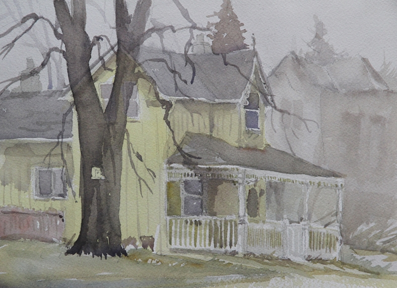 Rex Beanland, Misty Morning In Shelbourne, watercolour 9 x 12