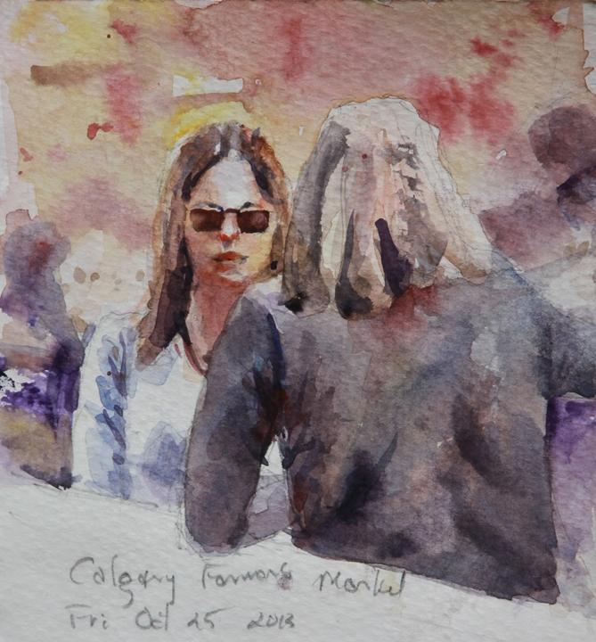 "Rex Beanland,Caught at Calgary Farmer's Market, watercolour, 5.5"" x 8"""