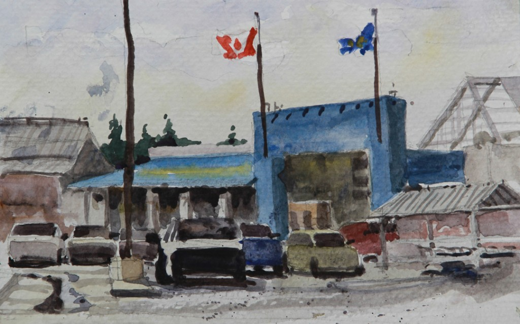 """Rex Beanland, Super, watercolour 5.5"""" x 8"""""""