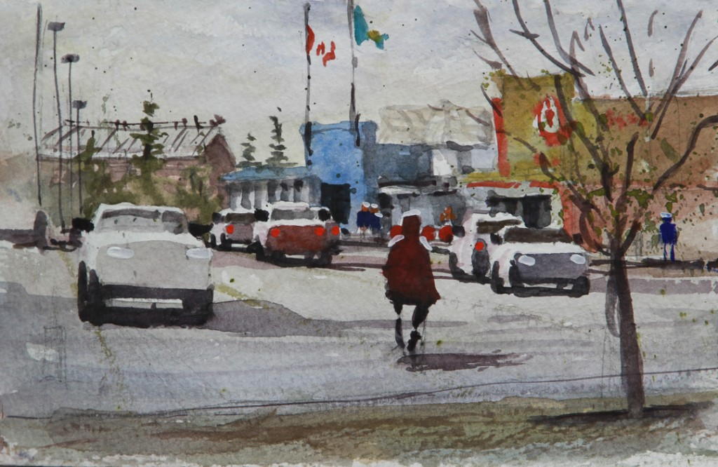 "Rex Beanland, Target Super, watercolour 5.5"" X 8"""