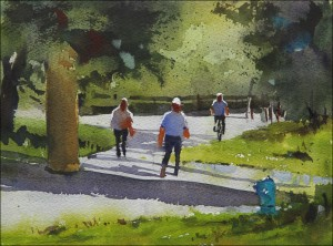 Rex Beanland, Bow River Pathway, 8 x 11