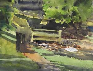 Rex Beanland, Downtown Creek, watercolour, 9 x 12