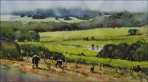 Rex Beanland, Home In The Foothills, watercolour, 11 x 20