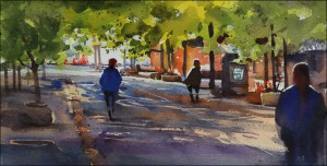 Rex Beanland, Early morning at Olympic Plaza, watercolour 7 x 14