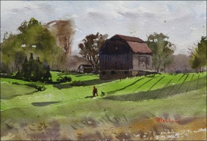 Rex Beanland, Springtime In Southern Ontario, watercolour 9 x 12