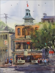 Rex Beanland, Dominion Hotel, watercolour, 16 x 12