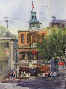 Rex Beanland, Dominion Hotel, watercolour, 16 x 12