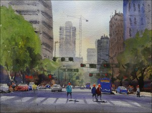 Rex Beanland, Jasper Ave, watercolour, 12 x 16
