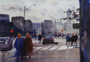 Rex Beanland, Sunlight On Jasper Ave, watercolour, 13 x 18