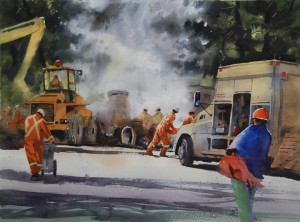 Rex Beanland, Construction Season, Calgary, watercolour & white gouache, 18 x 24