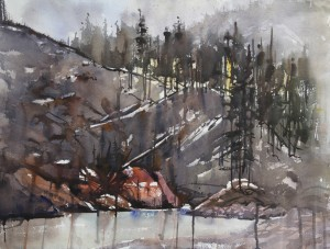 Rex Beanland, Elbow Falls Boat Launch, watercolour, 18 x 24