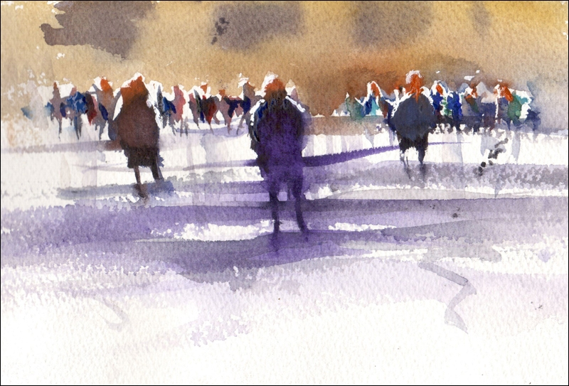 Rex Beanland, Three & A Crowd, watercolour, 5 x 8