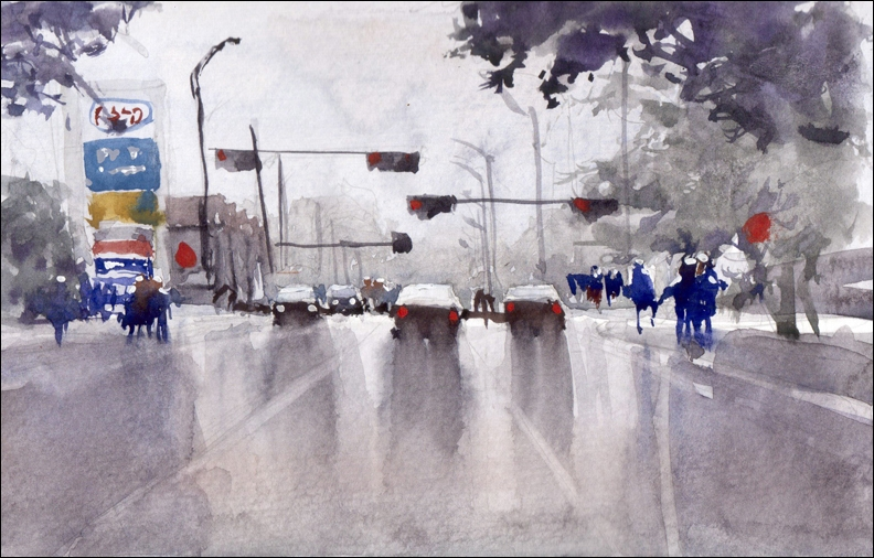 Rex Beanland, 37th & Richmond Road, watercolour, 5.5 x 8