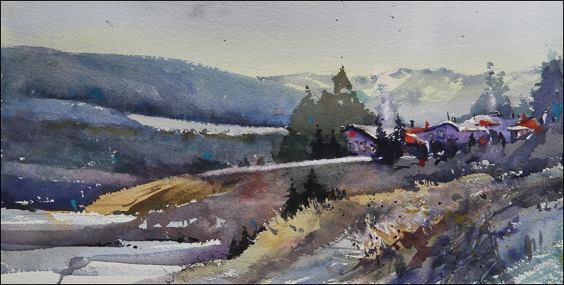 Rex Beanland, Discovery Ridge, watercolour, 8 x 16