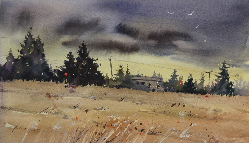 Rex Beanland, 37th Street Morning, watercolour, 9 x 13